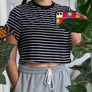 striped oversized crop top